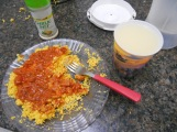 Couscous with tomato sauce, our preferred dinner at home