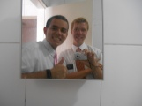 Elder França and me in a bathroom selfie